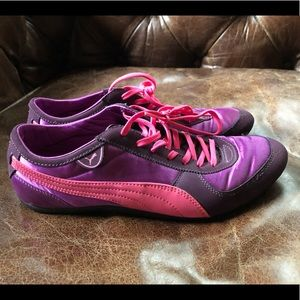 Puma pink purple satin patent  sneaker runner